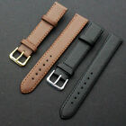 Quality Leather Black Brown Wristwatch Watch Strap Band Womens Mens UY image
