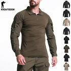 Mens Combat T-Shirt Army Military Long Sleeve Tactical Camouflage Casual Shirts image