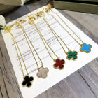 18k Gold plated Silver Onyx Mother-of-pearl Carnelian Flower Clover Necklace  image