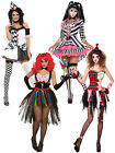 Ladies Evil Clown Jester Costume Adults Circus Halloween Fancy Dress Womens Sexy