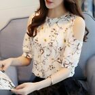 Blusas Floral Shirt For Womens Elegant Open Shoulder Blouses Chiffon Female Tops