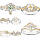 Fashion 925 Silver Rings For Women Emerald Jewelry Wedding Ring Size 6-10