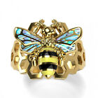 Fashion Bee 18k Yellow Gold Plated,Silver Rings for Women Jewelry Size 6-10 image