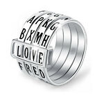 Lotus Fun Rotatable Letter Words Ring 925 Sterling Silver Fine Jewelry for Women