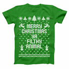 Merry Christmas Ya Filthy Animal Ugly  Sweater Green Basic Men's T-Shirt