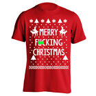 Merry F'n Xmas Christmas  Funny Ugly Sweater Party Red Basic Men's T-Shirt