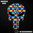 Autism Awareness Punisher Skull Sticker Decal Autistic Child Puzzle Ribbon