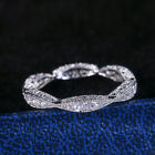 Fashion Women 925 Silver Rings Round Cut White Sapphire Wedding Ring Size 6-10