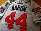 Brand New Majestic Atlanta Braves #44 Hank Aaron dual patch SEWN gray Jersey MEN