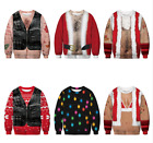 Mens Womens Casual Santa Ugly Christmas Holiday Light Sweater Sweatshirt ZG9