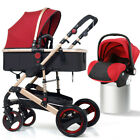 3 In 1 Luxury Baby Stroller Pushchair W/ Infant Basket Car Seat Foldable Buggy <br/> CPSC√SGS√CE√Certificate 100% Safe 0 toxic√ 360° Protect