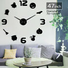 Bat Giant Big DIY Large Frameless Wall Clock with Mirror Effect Wall Art Decor