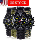 Men Outdoor Survival Sport Watch with Paracord/Whistle/Fire Starter/Compass image