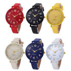 Classic Stainless Steel Watches Casual Colorful Leather Analog Quartz Wristwatch image