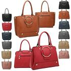 Bold Stylish Colour Block Structured Gold Tone Hoop Bolts Tote Bowler Style Bag