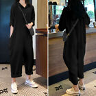 Plus Size Women Buttons Up Coller Top Jumpsuit Culottes Dungaree Baggy Playsuit