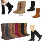 New Women Ankle Boots or Mid Calf Faux Suede PU Pull On Comfy Flat Heel Boots