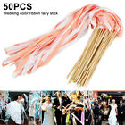 50 Twirling Stream Ribbon Wands Wedding Party Favor Sticks with Bell Bride Groom