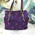 $1350 PRADA Purple Nylon Anemone Pietre Tessuto Jeweled Tote Bag SALE!