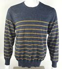 Route 66 Mens Medium OR XL Navy Blue-Gray Brown Striped Crew Neck Sweater NWT