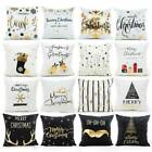 Christmas Pillow Case Glitter Cotton Linen Sofa Throw Cushion Cover Home Decor!!