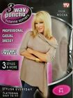 Suzanne Somers 3 Way Poncho AS SEEN ON TV Can be worn 3 ways S-L Mocha or Black