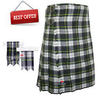 Scottish Gordon Dress Men's 8 Yard Tartan Kilt With Flashes Premium Quality -WLC
