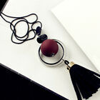 Wood Beads Long Necklace Jewelry Tassel Pendant Sweater Chain