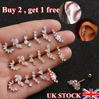Curved Cartilage Stud Helix Rook Conch Screw Back Earring Ear Piercing Jewelry~