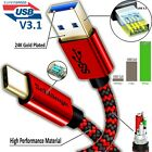 FAST CHARGING USB 3 Type C to USB Cable Braided for Galaxy Note 10/10+ lot
