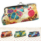 Women Floral Metal Frame Pouch Wallet Coin Purse Card Holder Bag Long Handbag image
