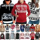 Mens Womens Christmas Xmas Hooded Jumper Sweater Novelty Ugly Sweater Hoodie Top
