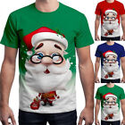Unisex Womens Mens Christmas 3D Santa Claus T-Shirt Xmas Short Sleeve Blouse Top image