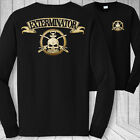 Exterminator skull long sleeve t-shirt - pest control sprayer crossbones shirt