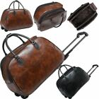 New Ladies Men Faux Leather Travel Wheeled Suitcase Holdall Duffle
