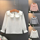Toddler Kid Baby Girl Long Sleeve T Shirt Solid Tops Ruffle Blouse Casual Tee US