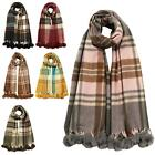 Women's New Plaid Check Tartan Pom Pom Winter Pashmina Scarf Shawl