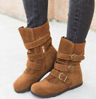 Womens Fur Lined Mid Calf Boot Buckle Zipper Ladies Winter Warm Flats Shoes Size