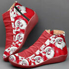 Womens Christmas Santa Claus Ankle Boots Flats Slip On Party Shoes Xmas Gifts