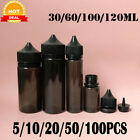 Kyпить 5-100PCS 30-120ML PET Liquid Dropper Bottles Black Plastic Container Caps на еВаy.соm