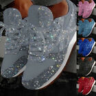 Womens Sequins Casual Breathable Bling Lace Up Sport Gym Running Shoes Sneakers
