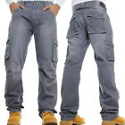 Mens Cargo Combat Jeans New Casual Work Heavy Denim *Limited Time Special Offer*