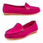 Women Ladies Flat Slip On Shoes Moccasin Suede Pumps Casual Loafers UK Size 3-6