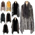 New Women's Leopard Zebra Animal Print Faux Fur Detail Winter Shawls