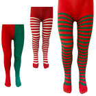 ADULTS / CHILD ELF SANTAS HELPER MISS SANTA TIGHTS FANCY DRESS CHRISTMAS COSTUME
