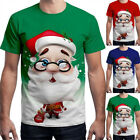 Womens Mens Christmas 3D Santa Claus Short Sleeve T-Shirt Xmas Tops Tee Blouse image