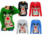 New Womens Ladies RUDOLPH POM POM Christmas Knitted Long Sweater Jumper UK 8-16