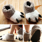 UK Adults Kids Animal Slippers Bear Cosplay Paw Claw Winter Plush Shoes Warmer