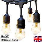 36FT Festoon Globe With 12 Bulbs Garden String Light Patio Wedding In/Outdoor UK