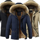 Mens Warm Down Cotton Jacket Fur Collar Thick Winter Hooded Coat Parka Outwear